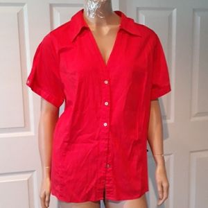 Button Up Shirt Short Sleeves Tunic Top  Size 18